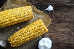 Boiled corn cob with salt on a wood Royalty Free Stock Image