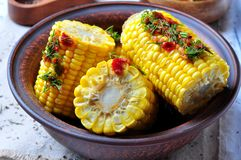 Boiled corn with hot tomato sauce, herbs, salt and spices Stock Images