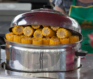Boiled corn in a pan in a street tray Royalty Free Stock Image