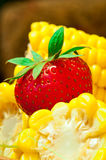 Boiled corn with strawberry royalty free stock photo