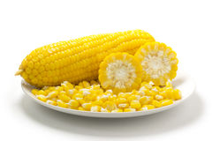 Boiled corn. On white background Stock Photo