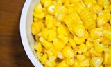 Boiled corn in a white bowl Royalty Free Stock Photo
