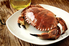 Boiled crab. On a old wooden table Royalty Free Stock Image