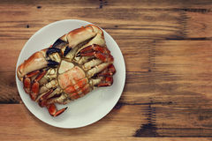 Boiled crab on white plate Royalty Free Stock Image