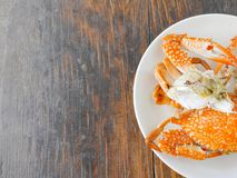Boiled crab. In white plate on wood surface Royalty Free Stock Images