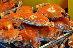 Boiled crabs in red. Boiled crab in red color, with spicy and special flavour taste in China, shown as amazing local aroma and different cooking or food culture Stock Photo