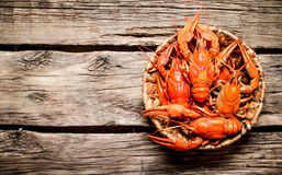 Boiled crawfish in the basket. Royalty Free Stock Photo