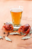 Boiled crawfish with beer Royalty Free Stock Image