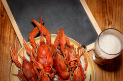 Boiled crawfish, glass of light beer and black chalkboard on a wooden table. Top view picture. Stock Photo