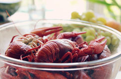 Boiled Crawfish. A plate of boiled crayfish on a table Stock Photography