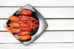 Free Boiled Crawfish. Woden Background. Rustic Style. Seafood Menu. Royalty Free Stock Images - 83914299