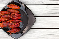 Boiled crawfish. Woden background. Rustic style. Seafood menu. Royalty Free Stock Images