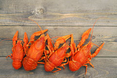 Boiled crawfish on a wooden background Stock Photo