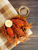 Boiled crawfishes in a round wooden plate and a glass of beer on a wooden background Royalty Free Stock Image
