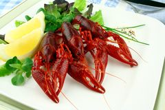 Boiled crayfish with lettuce, lemon and cutlery Stock Images