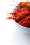 Boiled Crayfish in white bowl Stock Photos