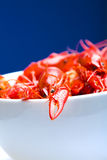 Boiled Crayfish in white bowl Stock Photo