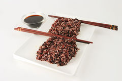 Boiled dark mixed rice with soy Stock Image