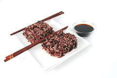 Boiled dark mixed rice with soy Royalty Free Stock Photo