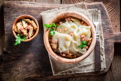 Boiled dumplings with mushrroms Royalty Free Stock Image