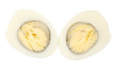 Boiled egg. Hard boiled egg sliced in half, isolated on white background Royalty Free Stock Photography
