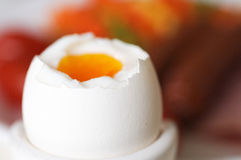 Boiled egg. With breakfast as background Stock Images