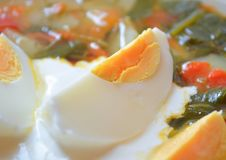 Boiled egg in a bowl of soup Royalty Free Stock Images