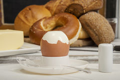 Boiled egg for breakfast, Bagel,buns and butter Stock Images