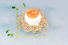 Boiled egg with caviar on top Stock Photo