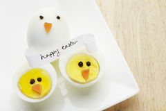 Boiled egg chickens with happy easter message Stock Image