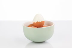 Boiled egg in a clay bowl of eggs Stock Image