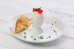 Boiled egg with Creme Fraiche and Roe stock photography