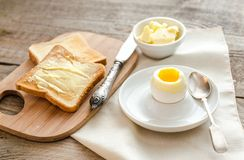 Boiled egg with crispy toasts on the wooden table Royalty Free Stock Photo
