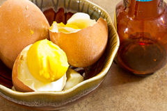 Boiled egg in cup Stock Images