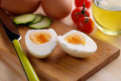 Boiled egg cut in half Royalty Free Stock Photos