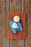 Boiled egg and a cutter Royalty Free Stock Photos