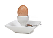 Boiled Egg in Dish with Spoon Royalty Free Stock Image