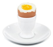 Boiled egg in egg cup isolated Royalty Free Stock Photo