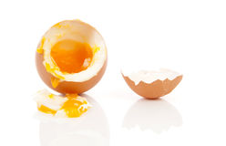 Boiled egg falling down Royalty Free Stock Image