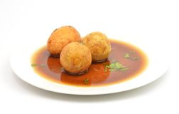Boiled egg fried with tamarind sauce Stock Photo