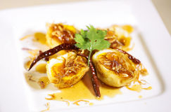 Boiled egg fried with tamarind sauce Royalty Free Stock Image