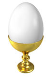 Boiled egg in golden cup. Stock Photography