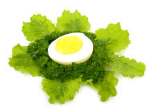 Boiled egg with green vegetables Royalty Free Stock Photo