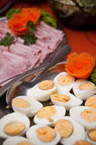Boiled egg and ham platters Royalty Free Stock Photography