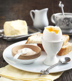 Boiled egg with pink salt Stock Photography