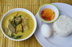 Boiled egg on rice and spicy fish ball green curry. Boiled egg on plain rice and spicy fish ball green curry Royalty Free Stock Image