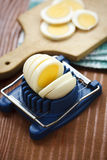 Boiled egg sliced on the board Stock Photo