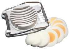 Boiled egg in slicer Royalty Free Stock Photo