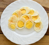 Boiled Egg slices Stock Images