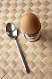 Boiled egg & spoon royalty free stock images
